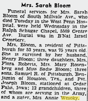 Sarah Bloom obituary