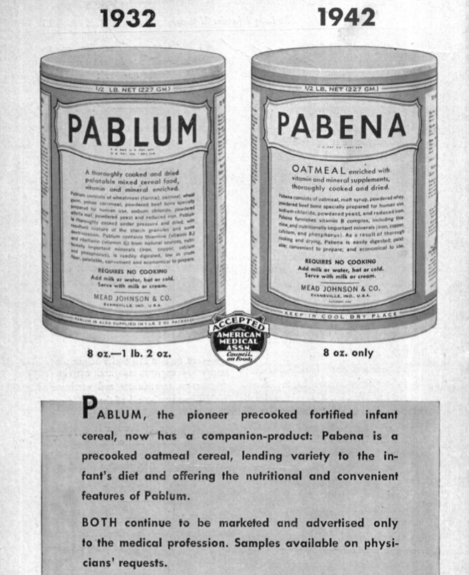 Advertisement for Pabena pre-cooked oatmeal