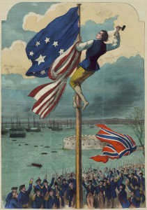 Tearing down the Union Jack on Evacuation Day