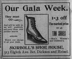 One of the records I shared.  (Advertisement from The Homestead News, 9/5/1896.)